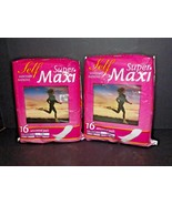 2 Packs Super Maxi Self Sanitary Napkins Vintage 16 Unscented Pads Each ... - $39.59