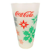1998 Thermo Serv Coca Cola Glass Frosted Plastic Cup Tumbler Christmas Vintage - $9.85