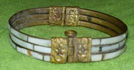 Vintage Brass & Mother-of-Pearl Hinged Bracelet - $24.19
