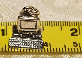 .925 Sterling Silver 3-D Desktop Computer Charm Pendant New Office image 3
