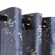 Faux Silk Floral Embroidered Grommet Top Curtains for Living Room Embroi... - $31.90