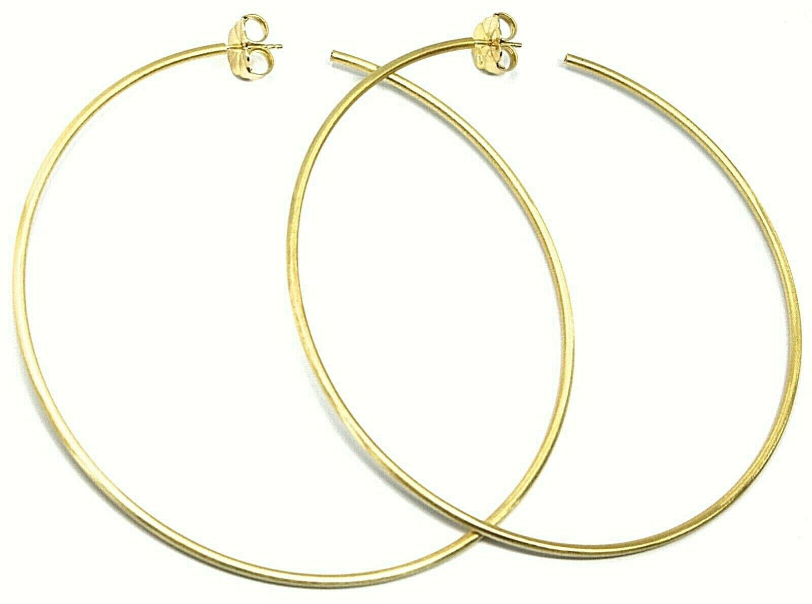 925 STERLING SILVER CIRCLE HOOPS BIG EARRINGS, 9.5cm x 2mm YELLOW SATIN FINISH