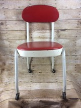 Cosco Sewing Chair Rolling White and Red Vintage - $56.06
