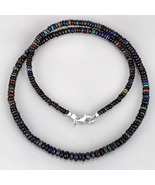 Black Ethiopian Opal Plain Rondelle Beads Necklace with 925 Silver Lock ... - $72.99