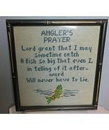 "Vintage Needle Point Framed Angler's Prayer 12 x 12"" Glass Front - $33.40"