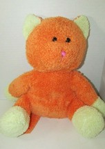 Beverly Hills Teddy Bear Co. plush orange yellow cat pink nose used - $8.90