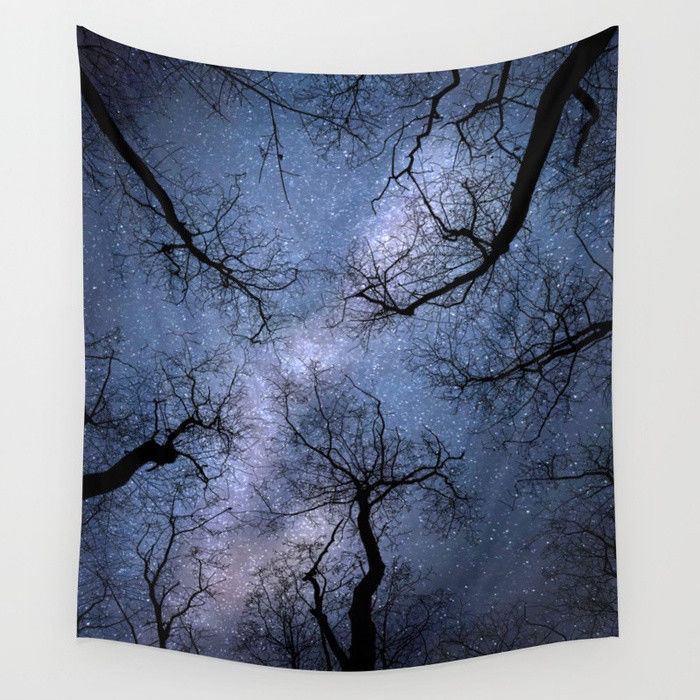 Wall Tapestry Wall Hanging Printed in USA Design 85 stars blue sky tree L.Dumas