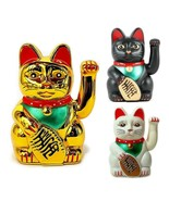 "LUCKY BECKONING CAT 5"" and 6"" Waving Kitty Maneki Neko Gold White Black ... - $8.95+"