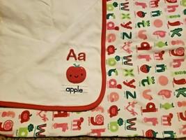 Gymboree Unisex Apple Alphabet Abc Red Baby Crib Blanket Exc - $27.70