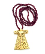 Ruby Red Glass Bead Brushed Gold Tone Dress Pendant BOHO Necklace - €33,44 EUR