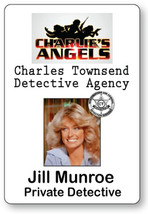 JILL MUNROE CHARLIE'S ANGELS NAME BADGE TAG HALLOWEEN COSPLAY MAGNET BACK - $14.84