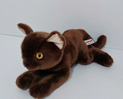 Primary image for Aurora World solid brown Plush cat lying laying down yellow-orange eyes