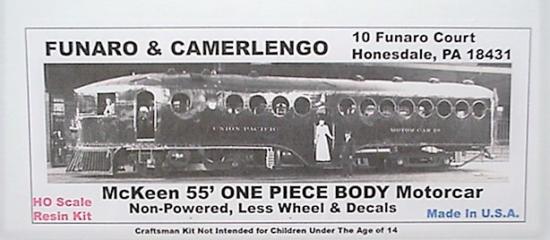 Funaro & Camerlengo HO Mckeen 55' Motor Car ONE PIECE BODY,non-powered kit 703