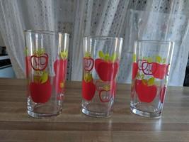 Vintage Drinking Glasses Apple Motif Swanky Swigs Set 3 Teacher Gift Kit... - $21.56