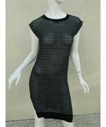 ALL SAINTS SPITALFIELDS Dress Black Silver Fishnet Style Sweater Sexy Dr... - $46.50