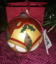 Christmas Holly & Bells Glass Ornament Reverse Painted Glass Chase Int (... - $7.38