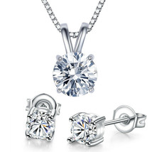 Solitaire Round Brilliant CZ Crystal Rabbit-Ear 8x4mm Pendant in 14k Whi... - $11.75