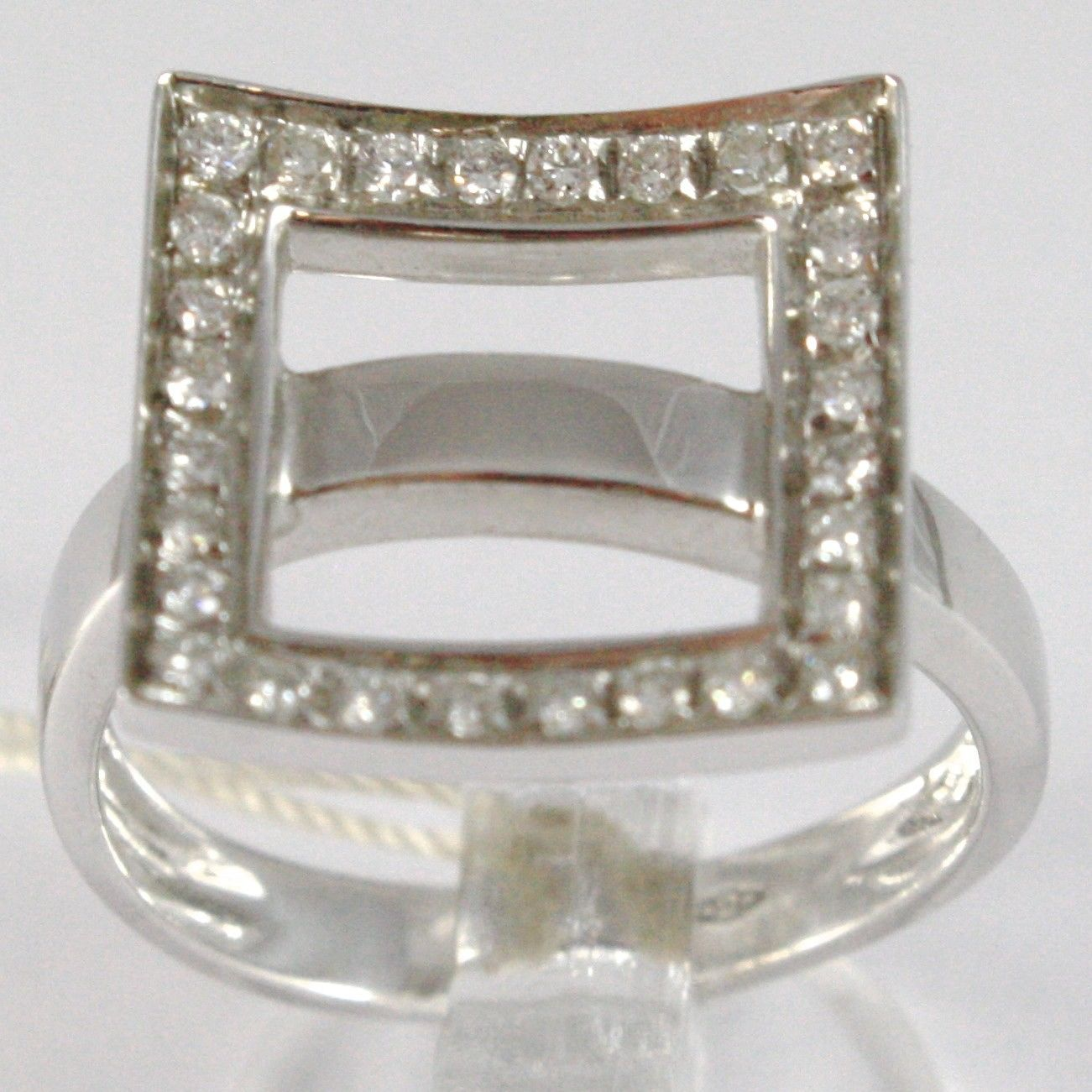 WHITE GOLD RING 750 18K, VERETTA UNDULATED, SQUARE OF DIAMONDS, CARAT 0.44