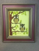 Finished Completed Crewel Embroidery Pair of Owls on Branch Wood Frame 1... - $20.53
