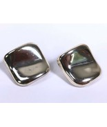 """Wavy Square Chunky Earrings Statement Clip On Silver Tone 1"""" Thin Light - $7.83"""
