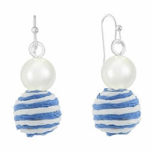 Liz Claiborne Women's Round Double Drop Earrings Silver Tone New Blue St... - $14.84