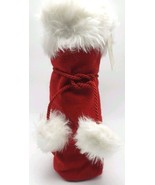 Hallmark Christmas Bottle Gift Bag Vintage Drawstring Holiday Santa Red ... - $6.99