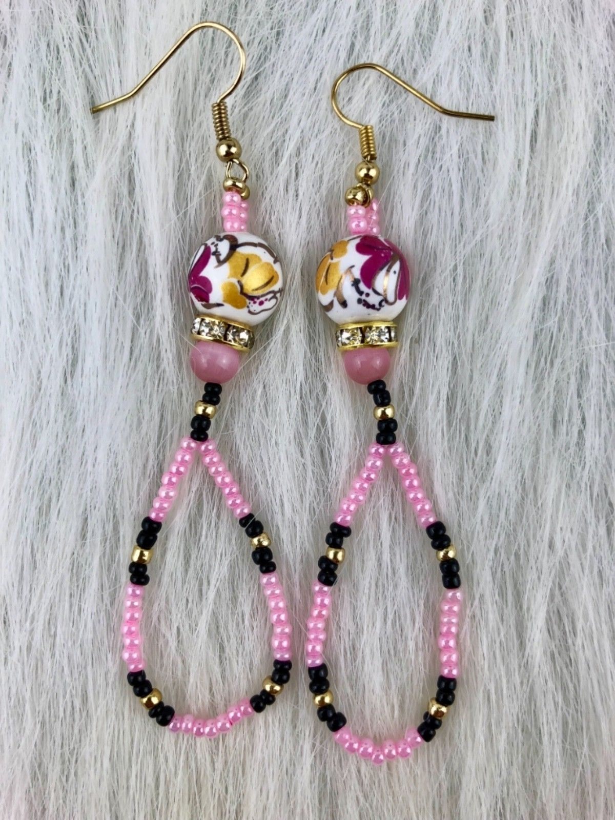 Primary image for Native American Style Flowers Pink Black Gold Beaded Dangle Pierced Earrings
