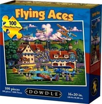 Flying Aces 100 Pc Childrens Jigsaw Puzzle Eric Dowdle Folk Art NEW Made... - $14.84
