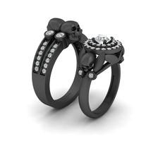 Approx 0.75cttw Diamond Center 0.50ct Moissanite Skull Engagement Ring Band Set - $319.99