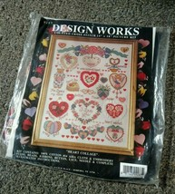 NOS Design Works Heart Collage Button Beaded Kathy Orr Counted Cross Stitch KIT - $40.21