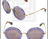 MIU MIU NOIR MU13NS Round Violet Glitter Lilac Gold Sunglasses TKC-4W1 13N