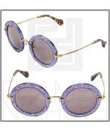 MIU MIU NOIR MU13NS Round Violet Glitter Lilac Gold Sunglasses TKC-4W1 13N - $257.39