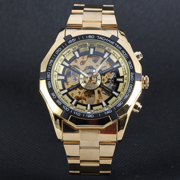 Men Classic Skeleton Automatic Mechanical Watch gold skeleton vintage watches To