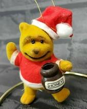 Vintage Christmas Ornament Winnie The Pooh Flocked Honey Pot Walt Disney - $4.50