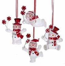 Kurt Adler Set Of 4 Frosted Acrylic Snowman w/ Peppermint Candy Xmas Ornaments - $24.88