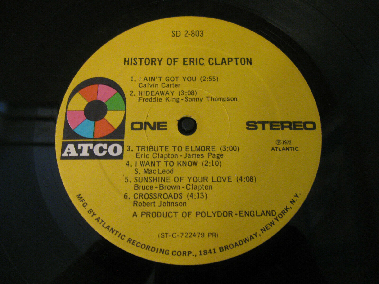 Eric Clapton History Of Atco SD 2-803 Stereo Double Vinyl Record LP image 5