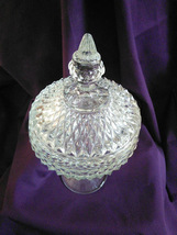 Pedestal Candy Dish with Lid in Diamond Pattern Vintage - $25.00
