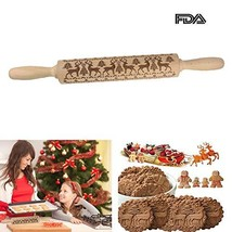 Christmas Embossed Rolling Pins for Cookies Wooden Embossing Rolling Pin... - $34.06