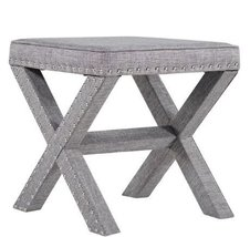 ModHaus Living Contemporary Linen Fabric Upholstered 17 Inch Bench Ottom... - $76.54