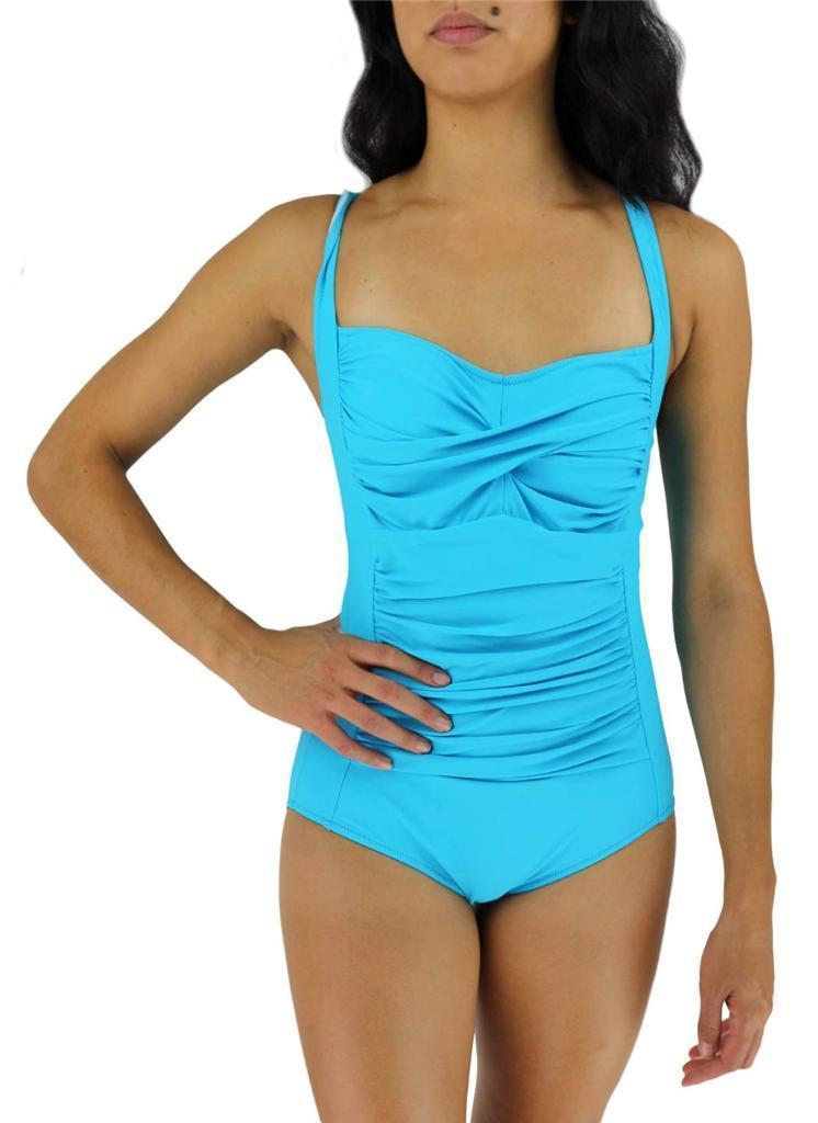 NEW COCO LIMON WOMEN'S BATHING SUIT ONE PIECE BLUE STYLE:3031TQ SIZE 12