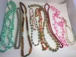 Vintage Bead Necklace Lot 10 Monet (2) Crystal Plastic Glass Lucite Unique - $38.69
