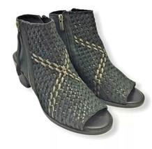 Sam Edelman Black Leather Women Open Toe Cooper Ankle Bootie Size 8.5 Woven Zip - $27.69