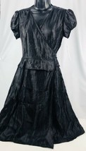 Women's Adrianna Papell Petite Black Sash Wrap Dress Size 6P Beautiful L... - $41.67