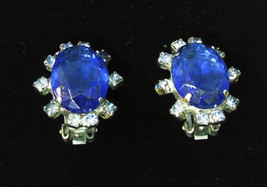 Vintage Brilliant Two Tone Blue Rhinestone Clip on Earrings Oval Jewelry... - $9.89
