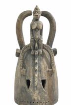 "Vintage Antique African Style 18"" Wood Ceremonial Helmet Mask Art image 1"