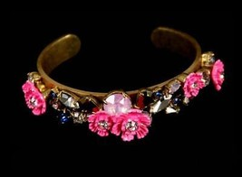 J Crew Floral Pink Cuff Gold Tone Bracelet New - £24.39 GBP