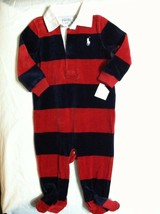RALPH LAUREN BOYS NEW RED/BLUE COTTON BLEND OVERALL SIZE: 9 MONTHS - $32.73