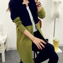 Slim Two Toned Women Long Cardigan - $29.00