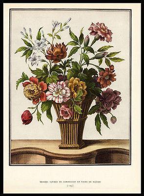 Floral Bouquet Basket Tessier Antique Botanical Print 1938 Dunthorne