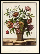 Floral Bouquet Basket Tessier Antique Botanical Print 1938 Dunthorne image 1